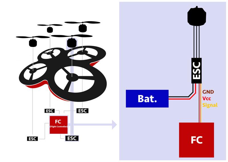 Quadcopter Verkabelung Motor / ESC / Batterie / Flight Controller